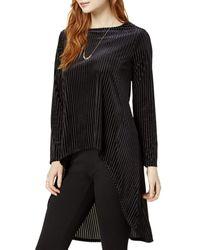 Bar Iii Melbourne Long Sleeve Stripe Velvet Dress - Black