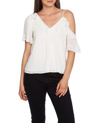 1.STATE Ruffle One Shoulder Embroidered Top - White