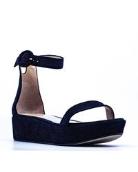 Stuart Weitzman Capri Suede Platform Sandals - Blue
