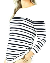 Karen Scott Striped Cotton Lace-up Sweater - Blue