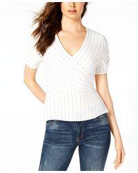 1.STATE V-neckline Hits At Hip Ticking Stripe Wrap Top - White