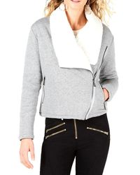 Guess Asymmetrical Sherpa-lined Jacket - Gray