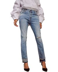 Warp & Weft Cdg - High Rise Straight Jeans - Blue