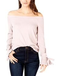 1.STATE Off-the-shoulder Tie-sleeve Top - Pink