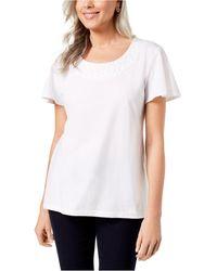 Karen Scott Weave Scoopneck Top - White