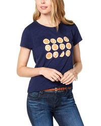 Maison Jules Short-sleeve Orange-graphic T-shirt - Blue