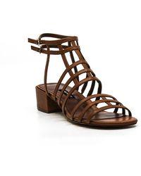 Nine West Xerxes Gladiator Leather Block Heels - Natural