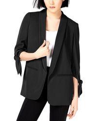 Bar Iii Tie-sleeve Blazer - Black