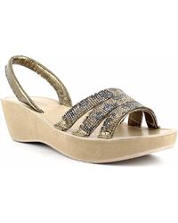 Kenneth Cole Reaction Fine Jewel Slingback Sandals - Metallic