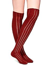 Free People Woodland Pointelle Knit Over-the-knee Socks - Red