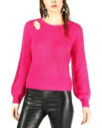 Bar Iii Balloon-sleeve Cutout Jumper - Pink