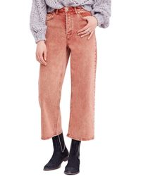 Free People Cropped Wide Leg Jeans - Multicolor