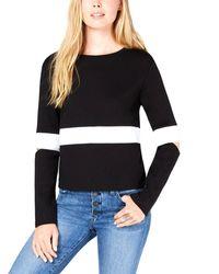 Bar Iii Striped Long Sleeve Jewel Neck Sweater - Black