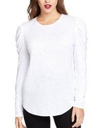 RACHEL Rachel Roy Gemima Drape Shoulder Long Sleeve Jewel Neck Top - White
