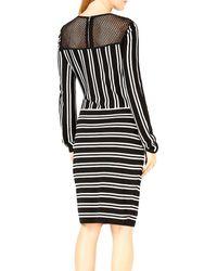 Bar Iii Striped Mesh-inset Dress - Black
