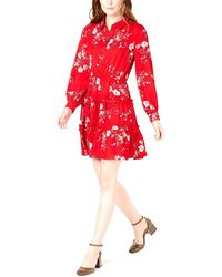 Maison Jules Printed Ruffled Shirtdress Red Ladybug