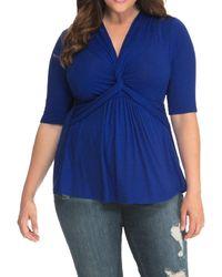 Kiyonna Caycee Twist Top - Blue