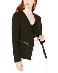 Bar Iii Zip-pocket Blazer Jacket - Black