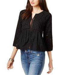Lucky Brand Crochet-trim Jacket - Black