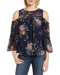 Lucky Brand Cold-shoulder Bell-sleeve Blouse - Blue