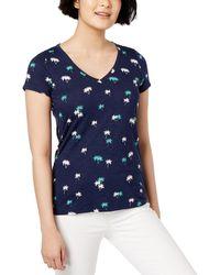Maison Jules Printed V-neck T-shirt - Blue