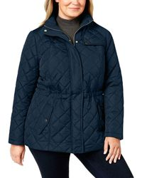 Charter Club Quilted Zip-front Jacket - Blue