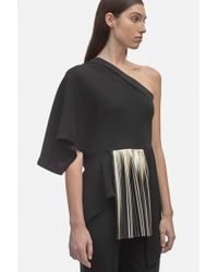 Yigal Azrouël - One Shoulder Crepe Top With Foil Pleats - Lyst