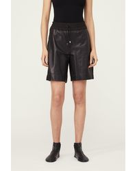 Yigal Azrouël Relaxed Drawstring Shorts In Leather - Black