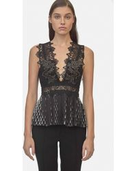 Yigal Azrouël - Studded Coral Emboridery Pleated Top - Lyst