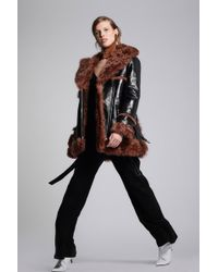 Yigal Azrouël - Patent Leather Shearling Coat - Lyst