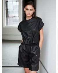 Yigal Azrouël Drawstring Gathered Top In Leather - Black