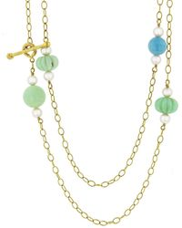 Cathy Waterman Chrysoprase, Turquoise, And Akoya Pearl Beaded Chain 22k Gold Necklace, Memo - Metallic