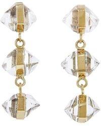 Melissa Joy Manning Three Drop Wrapped Herkimer Diamond Yellow Gold Earrings - Metallic