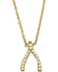 Jennifer Meyer - Mini Diamond Wishbone Necklace - Lyst