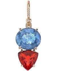 Irene Neuwirth - 18kt Rose Gold One-of-kind Aquamarine And Fire Opal Earring - Lyst