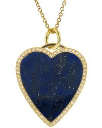 Jennifer Meyer - Diamond Lapis Inlay Heart Pendant Necklace - Lyst