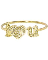 Jennifer Meyer Diamond I Heart You Stacking Ring - Metallic