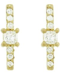 Tate - Square And Pavé Diamond Stick Stud Earrings - Lyst