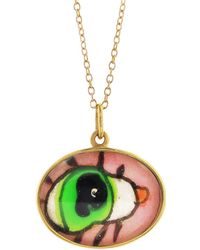 Ileana Makri - Hand Painted Green And Pink Evil Eye Necklace - Lyst