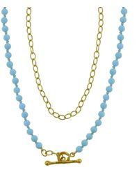 Cathy Waterman 17 Inch Turquoise Bead And Tiny Lacy Chain Necklace - Multicolor
