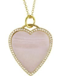 Jennifer Meyer - Diamond Pink Opal Heart Inlay Necklace - Lyst