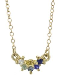 Ruta Reifen - Blue, Green And White Sapphire Curve Necklace - Lyst