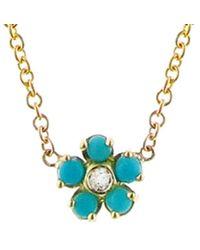 Jennifer Meyer Turquoise And Diamond Flower Necklace - Blue