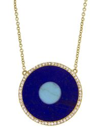 Jennifer Meyer Lapis Inlay And Turquoise Center Eye Necklace With Diamonds - Blue