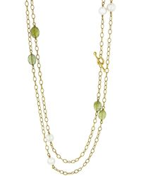 Cathy Waterman Peridot And Pearl Wire Wrap Necklace - Metallic