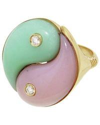 Retrouvai Opal And Chrysoprase Yin Yang Yellow Gold Ring - Metallic