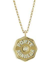 Marlo Laz Mini Pearl And White Enamel Porte Bonheur Coin Yellow Gold 16 Inch Necklace - Metallic