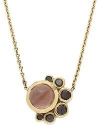 Mociun   Sunstone And Black Diamond Crescent Necklace   Lyst