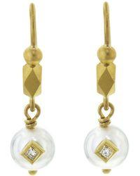 Cathy Waterman - Embedded Diamond And Pearl Drop Earrings - Lyst