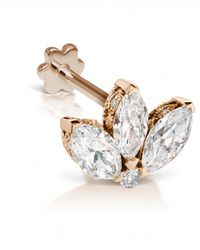 Maria Tash 3mm Mini Diamond Engraved Lotus Threaded Stud Earring - Metallic
